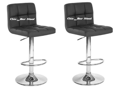 Chic Modern Adjustable Swivel Bar Stools - Black - Set of 2