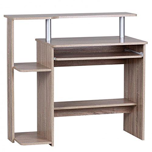 FineBuy-CEVO-Computertisch-ohne-Rollen-klein-94cm-breit-Tastaturauszug-ausziehen-Holz-PC-Laptop-Tisch-Schreibtisch-mit-Aufsatz-fr-kleine-Rume-48cm-tief-90cm-hoch-Drucker-Ablage-platzsparend-Sonoma-Eic