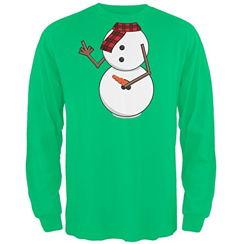 Middle Finger Snowman Body Costume Green Long Sleeve T-Shirt