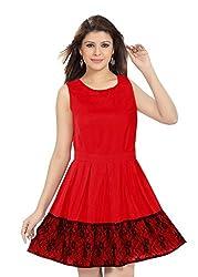 Ishin Poly lycra Red skater dress