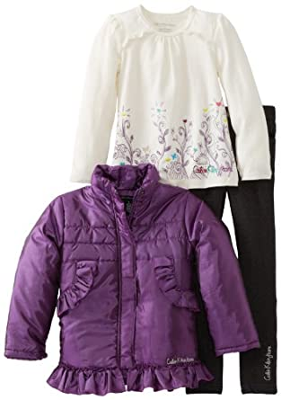 Calvin Klein Girls 2-6X Jacket With Tee And Dark Gray Jean, Purple, 5