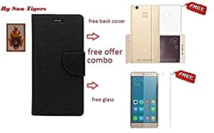 RedMi 3S Prime MERCURY+TEMPERED GLASS+BACK COVER(FREE COMBO)BY Sheerworth™ Brand(FULL BLACK
