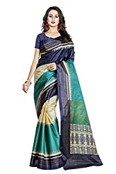 Viva N Diva Women's Clothing Designer Party Wear Low Price Sale Offer Navy Blue, Sea Green & Beige Color Art Silk Printed Free Size Saree Sari
