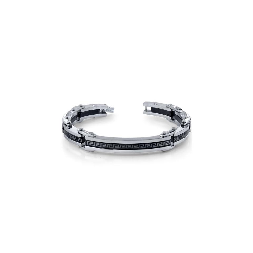 Urban Sophistication Mens Black and Silver tone Stainless Steel Greek Key Link Bracelet