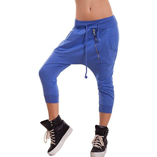 Toocool - Pantaloni donna tuta harem capri cavallo basso turca polsini zip nuovi CJ-2214 [Taglia unica,Blu Elettrico]