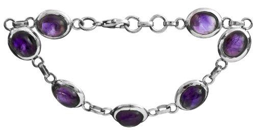 Sterling Bracelet with Gems - Sterling Silver - Color Amethyst