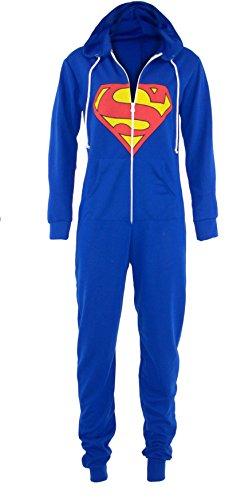 Nuovo donna da uomo Superman Batman con chiusura a zip con cappuccio Tuta tutina tuta blu S/M