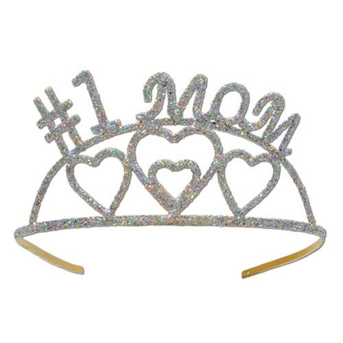Glittered #1 Mom Tiara Party Accessory (1 count) (1/Pkg) - 1