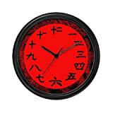 Lightweight Black Plastic Framed Chinese Numbers Black and Red Wall Clock, 10″