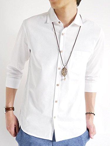 (モノマート) MONO-MART 7分袖 パナマシャツ 綿麻 リネン サマー ドライ 快適 涼しい 品質 デザイナーズ メンズ オフホワイト XLサイズ