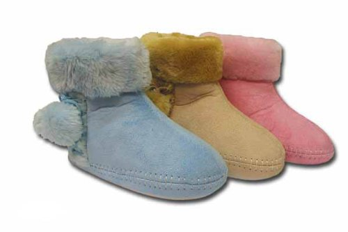 Girls Kids COOLERS Fluffy Boot Slipper K201 Pink 12-13