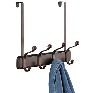 InterDesign York Over The Door Storage, 4 Hook, Bronze