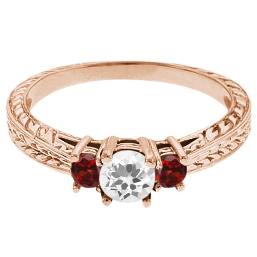 0.57 Ct Round White Topaz Red Garnet 18K Rose Gold 3-Stone Ring