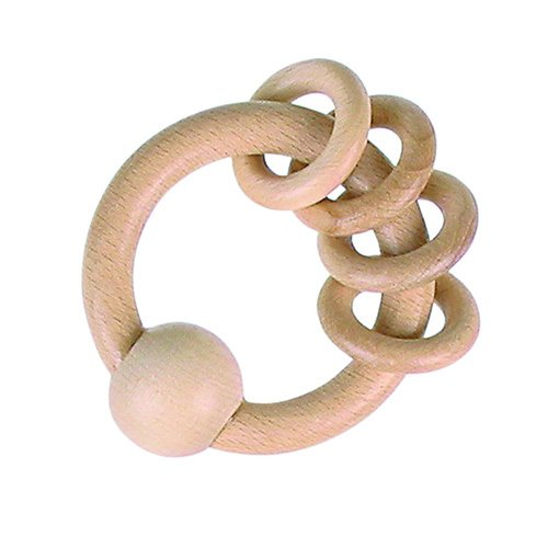 Heimess Wooden Ring Rattle/Grasping Baby Toy - Beeswax