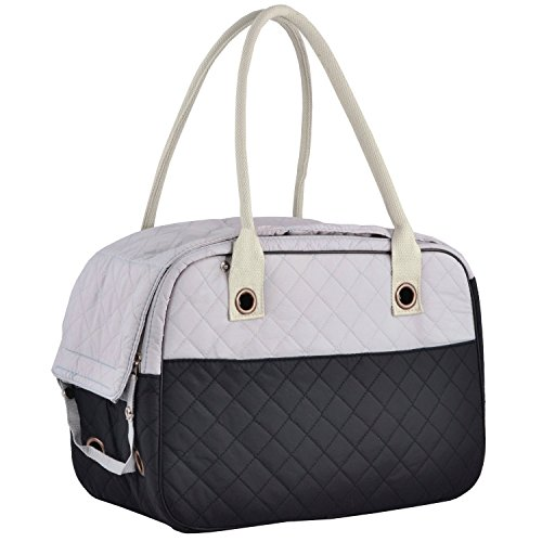 Night Cat Collection Stylish 2 Tone Quilted Soft Sided Travel Dog and Cat Pet Carrier Tote Hand Bag (Black)