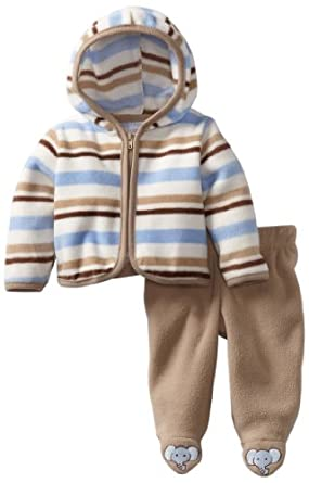 Vitamins Baby-boys Newborn 2 Piece Stripes Hooded Pant Set, Khaki, 0-3 Months