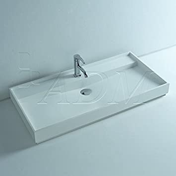 ADM Bathroom Matte White Stone Resin Sink DW-142