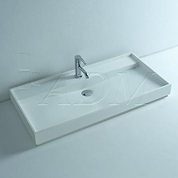 ADM Bathroom Matte White Stone Resin Sink DW-142