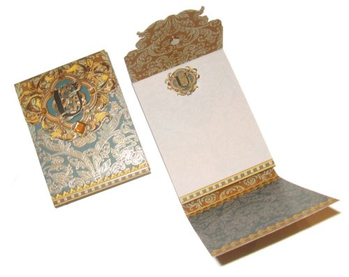Rhinestone Adorned Gold Classic Monogram Initial Fine Notepad Papers - Great Gift Item!, U