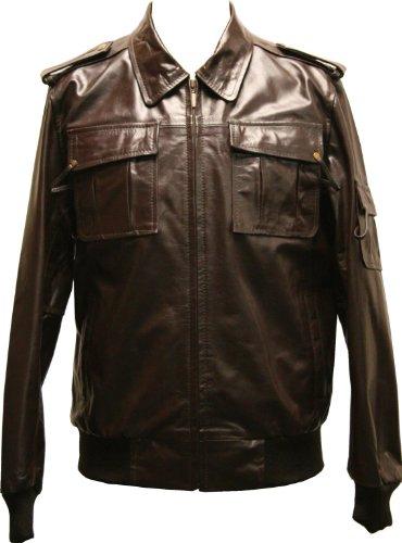 YUKON - Mens Brown Leather Bomber Jacket - XL / 44