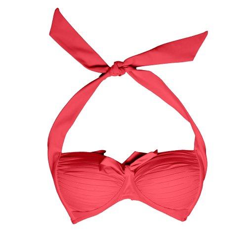 Seafolly Women'S Goddess Halter Bra Bikini Top Red Hot (Neon) 6