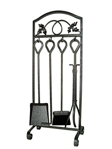 Amagabeli Fireplace 5 Piece Tool Set Kit Stove Hearth Firepit Decorative Fire Wood Log Holder Pit Tools Outdoor Wrought Iron Poker Tongs Toolset Outdoor Pewter Black Accessories Sets by Screen (Fireplace Tool Parts compare prices)