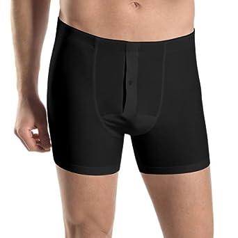 Hanro Men's Cotton Superior Long Leg Boxer Brief, Black, Small