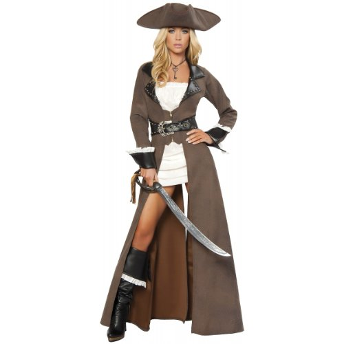 Deluxe Pirate Captain Costume - X-Large - Dress Size 10-12