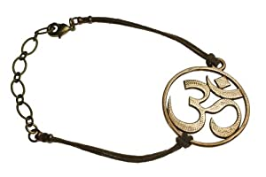 Om Peace Bronze Adjustable Bracelet