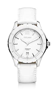 Golana Aura Three Hands Women's Quartz Watch with White Dial Analogue Display and White Leather Strap AU300-1