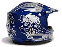 TMS Youth Kids Blue/silver Skull Dirt Bike Motocross Helmet Mx (Small) by T-Motorsports