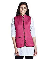 Jaypore Women's Art Silk Quilted Jacket (JPJAPJ000094411-L_Olive and Pink)