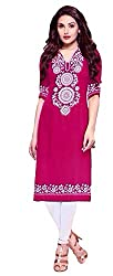 Clickedia Women's Cotton Rich A line long Pink Kurta - Semi-stitched