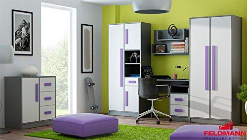 Jugendzimmer 20105 komplett 6-teilig anthrazit / weiß – Farbe der Griffe wählbar (violett) jetzt bestellen
