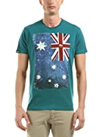 Hot Buttered Camiseta Manga Corta Flag (Verde Agua)