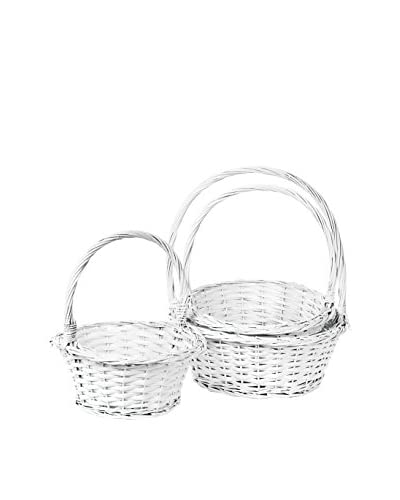 Skalny Set of 3 Willow Baskets, White
