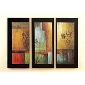 Very Modern Style Wood Art Wall Décor Set of 3