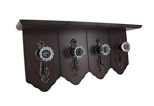 Distressed Finish Wall Shelf w/ Antique Clear Door Knob Hooks (Door Knob Rack compare prices)