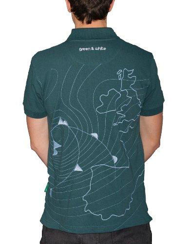 Green & White Surfwear, Men's Polo Shirt , Storm, Mallard Green, Large