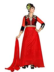 Look N Buy Women's Net Semi Stitched Anarkali Suit (G803_red)