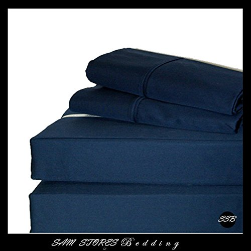 Luxurious 100% Egyptian Cotton 600TC King Size Attached Waterbed Sheet Set Solid Navy Blue