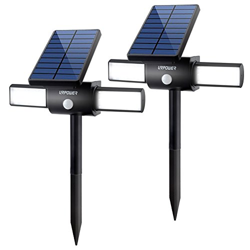 Solar Lights, URPOWER 24 LED Solar Spotlight Waterproof Outdoor Landscape Lighting Dual Head USB Charging or Solar Powered Motion Activated Security Spotlight with Two Working Modes for Garden Patio