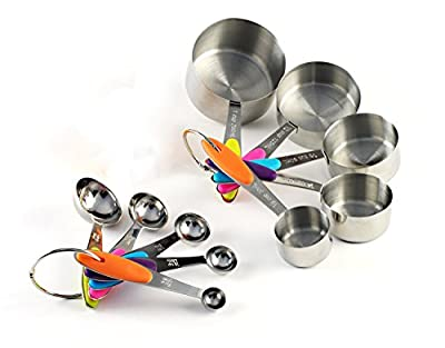LOYMR Solid Sturdy Stainless Steel Measuring Cups and Spoons Measure Dry and Liquid Ingredients with Soft Handles,for Kitchen Cooking Baking,10 Piece