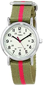 """Timex Women's T2N917 """"Weekender"""" Watch with Olive Green and Red Nylon Strap"""