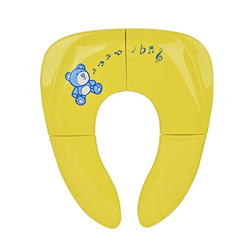 GHB Riduttore WC per Bambini Riduttore Sedile da Viaggio Vasino Pieghevole da Viaggio Vasino Portatile Bambino Antiscivolo Rigido Durevole-Giallo
