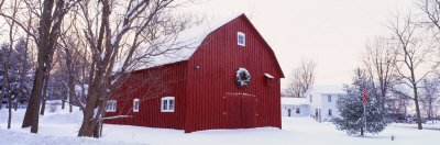Winter, Barn, Ada, Michigan Poster