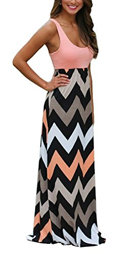 Demetory Women`S Bohemian Sleeveless Backless Wave Striped Maxi Dress (U18-20