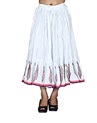 Chhipa Women Mugal Print Knee Length Skirt White - Length 28Inches