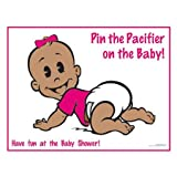BadaBadaBingo Pin the Pacifier on the Baby African American Girl Baby Shower Game