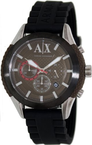 Armani Exchange Men's AX1224 Black Stainless-Steel Quartz Watch with Brown Dial